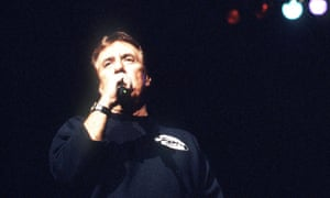 Lee Hazlewood, at Meltdown 1999, wearing his 'Movie Facts' sweatshirt.