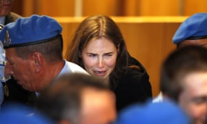 Amanda Knox breaks down in tears after hearing the murder verdict overturned in her October 2011 trial.