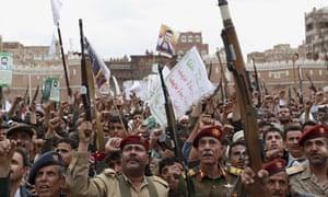 Houthi rebels rally, Sanaa, Yemen
