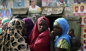 Women queue to vote in the city of Kano in northern Nigeria
