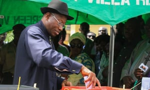 Nigeria's president, Goodluck Jonathan, casts his ballot at a polling station in Otueke, Bayelsa state.