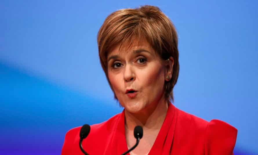 Scotland's first minister and SNP leader, Nicola Sturgeon, speaks at the party's spring conference in Glasgow.