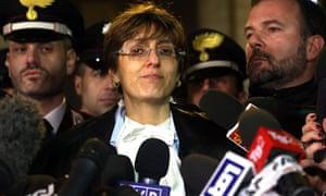 Giulia Bongiorno, lawyer of Raffaele Sollecito, faces the press in Rome.