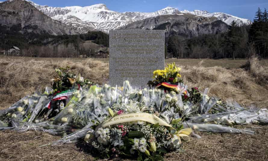 Flowers at a memorial to the victims at Le Vernet in France, close to the crash site