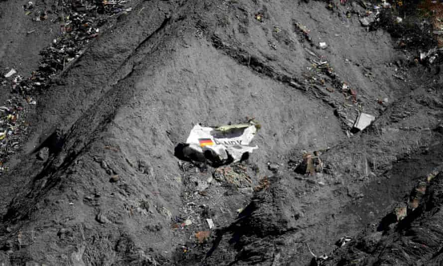 Wreckage of the Germanwings Airbus A320 at the crash site near Seyne-les-Alpes, France.