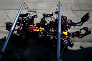 Daniel Ricciardo of Australia and Infiniti Red Bull Racing makes a pit stop.