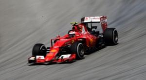 Kimi Raikkonen of  Ferrari drives.