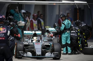 Lewis Hamilton in the pit