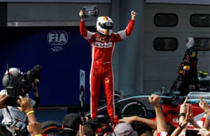 Sebastian Vettel celebrates winning the race.