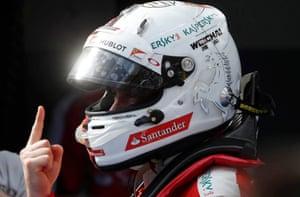 Ferrari's Sebastian Vettel celebrates.