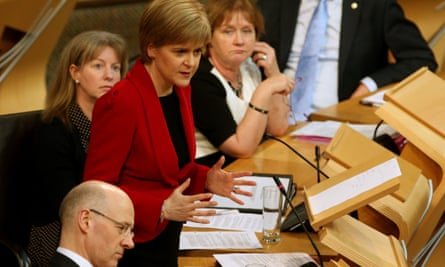 Scotland's first minister, Nicola Sturgeon, has already introduced a gender-balanced cabinet at Holyrood, where three parties are now led by women