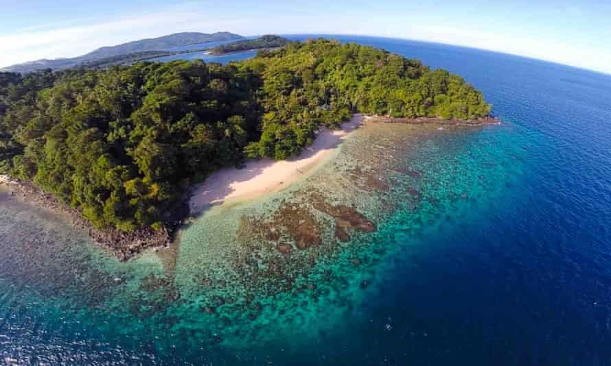 Aerial of Bangka Island before mining development began