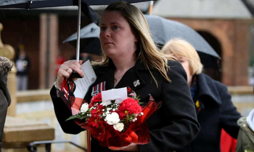 Lee Rigby's widow, Rebecca, attends the unveiling of a tribute in Middleton Memorial Gardens.