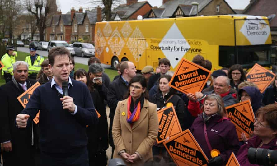 Nick Clegg, left, and Lib Dem candidate Layla Moran, centre, at Oxford West and Abingdon on Sunday.
