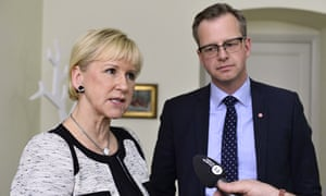 Sweden's foreign minister Margot Wallström and  trade minister Mikael Damberg talk to journalists af