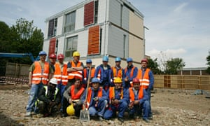 Polish workers on a building site in London in 2005.