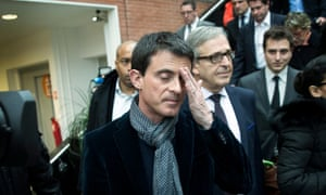 The Socialist prime minister, Manuel Valls, after voting in the second round of the French local elections. Marine Le Pen hailed her party's best result in a local election as a 'magnificent success'.