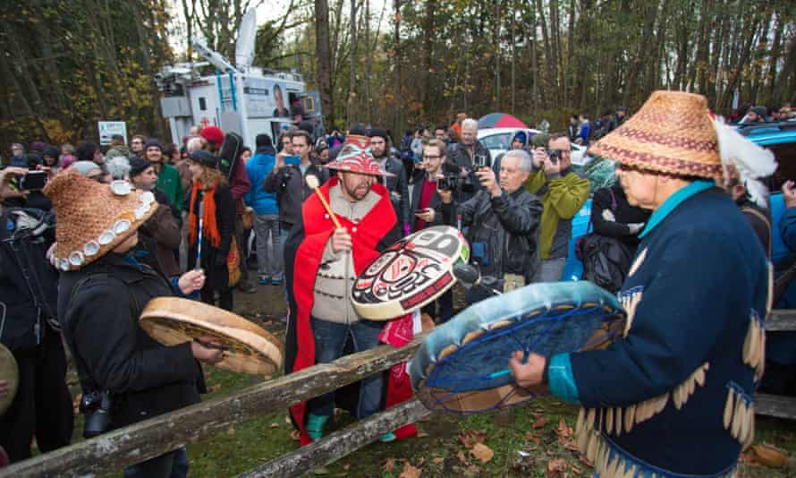 A rally against the expansion of the Kinder Morgan tar sands pipeline on Burnaby Mountain in British Columbia, Canada, in November, 2014.