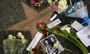 Tributes laid at Leonard Nimoy's star on the walk of fame in Hollywood.