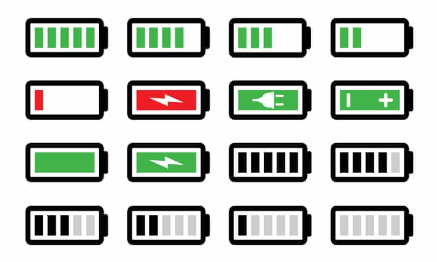 Battery charge vector icons