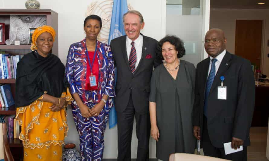 Jeanine Mabunda Lioko Mudiayi, Personal Representative of the Head of State on Sexual Violence and Child Recruitment of the DRC with Deputy Secretary-General of the UN Jan Eliasson, UN Special Representative on Sexual Violence in Conflict Zainab Hawa Bangura, Special Representative for Children and Armed Conflict, Leila Zerrougui, and Ambassador to the UN of the DRC, Atoki Ileka.