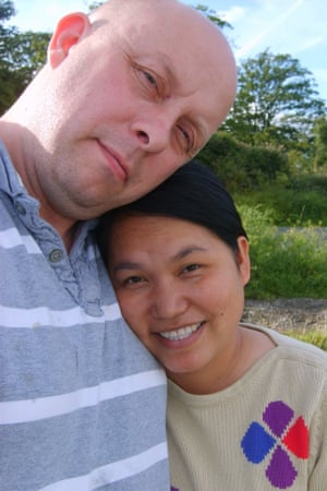 Carl Hendrickson with his wife Nittaya, who died with her newborn son Chester after being admitted to be induced at Furness general hospital in 2008.