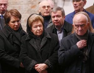 Naina Yeltsina, the widow of Boris Yeltsin, and her daughter Tatyana Dyachenko attend the ceremony.