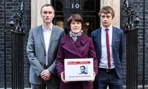 three relatives of Alan Turing deliver their petition to Downing Street