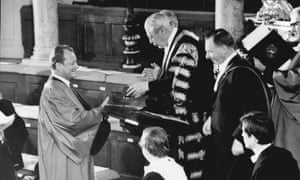 West German chancellor Willy Brandt receiving honorary doctorate from Harold Macmillan, Oxford, 1970