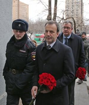 Arkady Dvorkovich, Russia's deputy prime minister (front), and Sergei Prikhodko, Russia's deputy prime minister, outside the Sakharov centre.