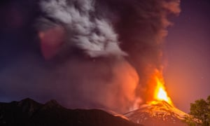 Lava and ash spew from the Villarrica volcano.