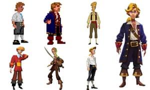 The evolution of Guybrush Threepwood from the Monkey Island series.