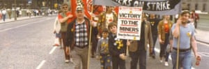 11-year-old Mark Watson and his brother marching. Their dad was NUM Branch Secretary at Silverhill Colliery in Nottinhamshire