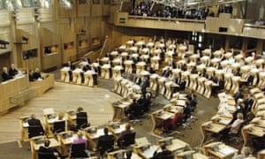 The Scottish parliament's debating chamber.