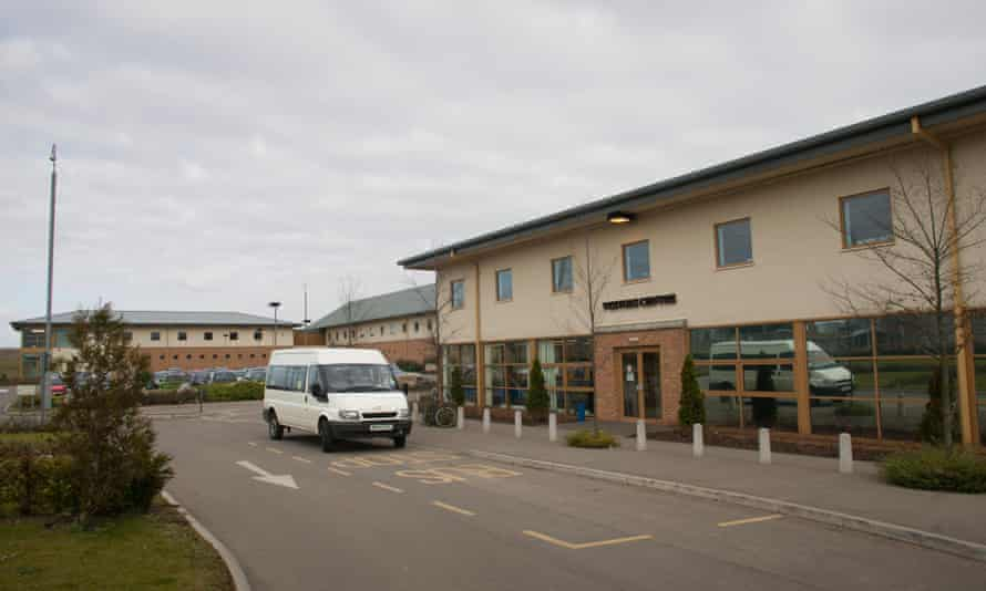 The front entrance of Yarl's Wood immigration removal centre in Bedfordshire.