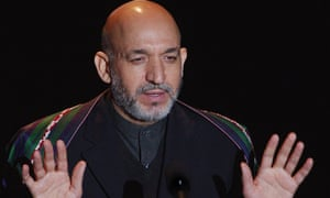 Hamid Karzai accepts the Freedom award from the International Rescue Committee in New York, 2002. The president said he would make security his first priority after he came to power.