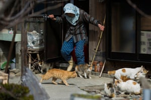 A local woman shoos away cats as she leaves her house