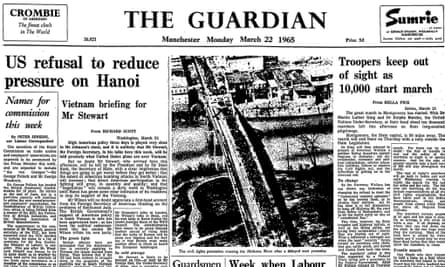Troopers out of sight as Freedom March from Selma to Montgomery begins, the Guardian 22 March 1965