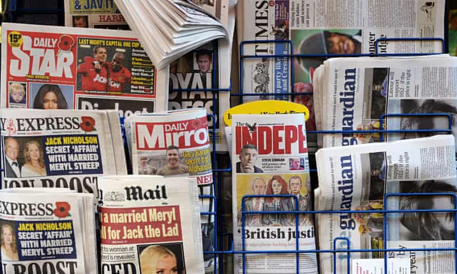newspapers on a rack at a newsagent in London