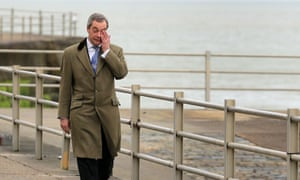 Ukip leader Nigel Farage arrives at the Winter Gardens theatre in Margate, Kent, for the second day of the Ukip spring conference.