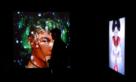A visitor walks through the exhibition Bjork during a preview at the Museum of Modern Art in New York.