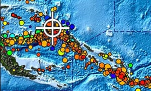 A picture released by the US National Oceanic and Atmospheric Administration shows a shakemap of the region (white cross) in Papua New Guinea (PNG) where the earthquake occured .