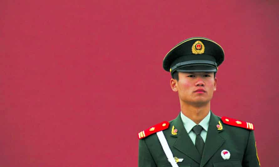 Chinese soldier stands guard