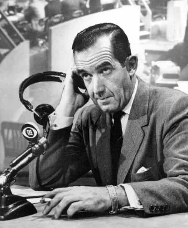 CBS news correspondent Edward R Murrow in 1956.