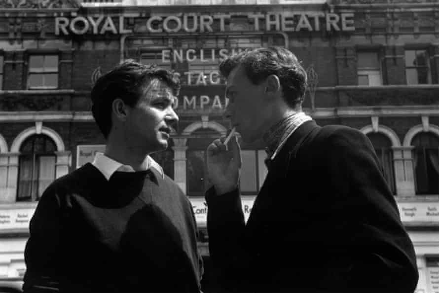Angry young men … John Osborne (right) and actor Kenneth Haigh outside the Royal Court theatre in 1956.