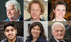 Top row (from left): Val McDermid, Grayson Perry, Jack Monroe. Second (from left): Musharaf Asghar, Kirstie Allsopp, Harry Leslie Smith