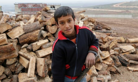 11-year-old Karim, who lives and works in one of the camps for displaced people in the north of Syria close to the border with Turkey.