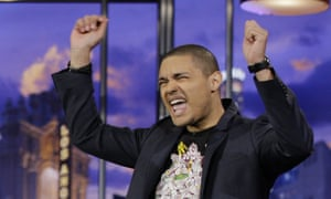 THE TONIGHT SHOW WITH JAY LENO -- Episode 4177 -- Pictured: Comedian Trevor Noah performs on January 6, 2012 -- Photo by: Paul Drinkwater/NBC/NBCU Photo Bank2010s|2011-2012|airdate01/06/2012|Color|comedy|episodic|gesturing|Horizontal|indoor|latPhotoBank|NUP_147833|Season20|select|single|solo|TalkShow