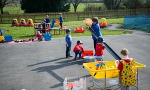 Teaching assistant in playground