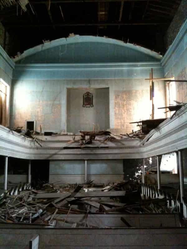 The destroyed interior of the Dutch Reformed Church.